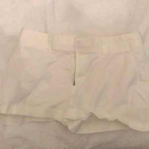 White dress jean shorts